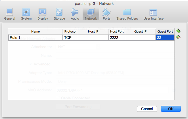 Screenshot of Port Forwarding